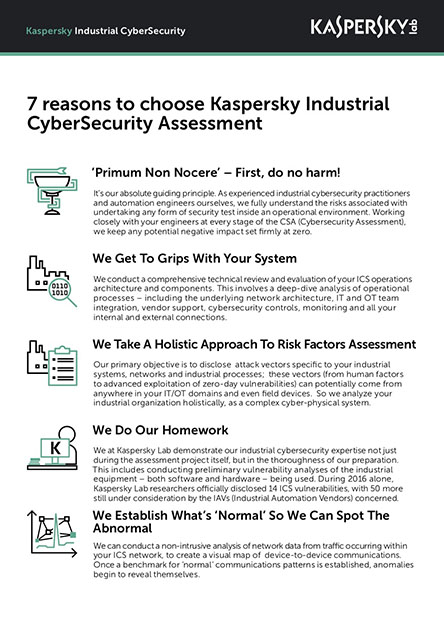 7 Gründe für Kaspersky Industrial CyberSecurity Assessment